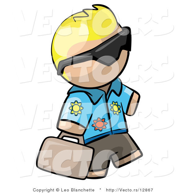 Vector of Cartoon Blond Tourist Guy Wearing Shades and Carrying Luggage