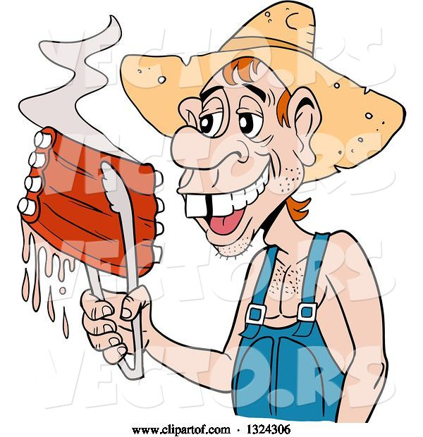 Vector of Cartoon Buch Toothed Male Hillbilly Holding Juicy Bbq Ribs with Tongs