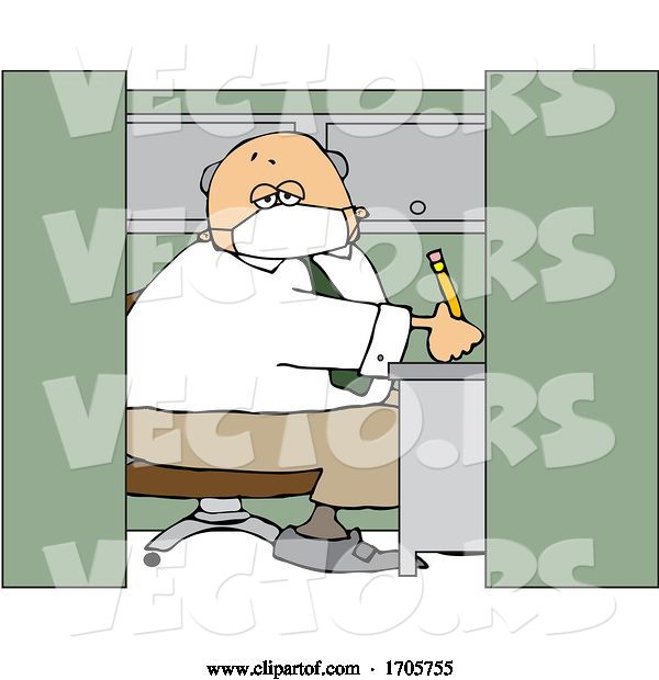 Vector of Cartoon Business Man Wearing a Covid19 Mask and Working in a Cubicle
