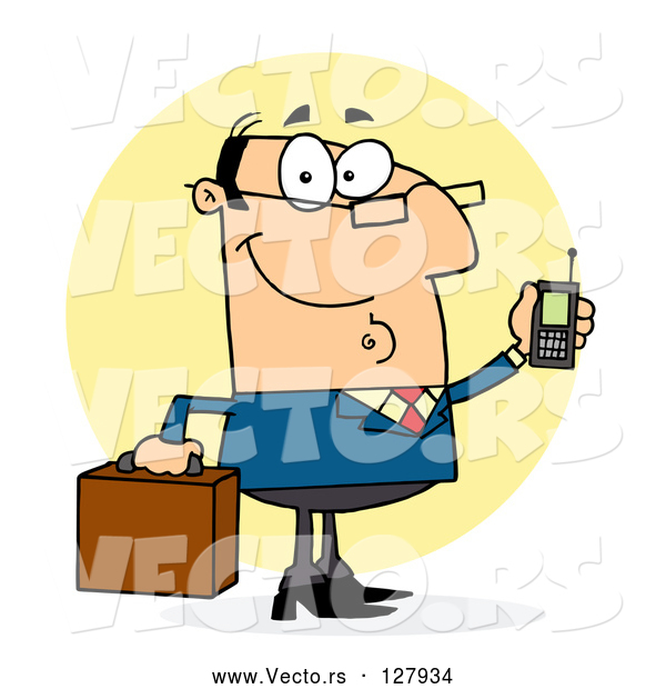 Vector of Cartoon Chatty White Business Man Holding a Briefcase and Cell Phone
