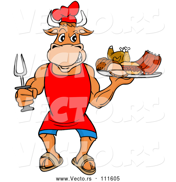Vector of Cartoon Chef Bull Holding a Bbq Platter of Meats
