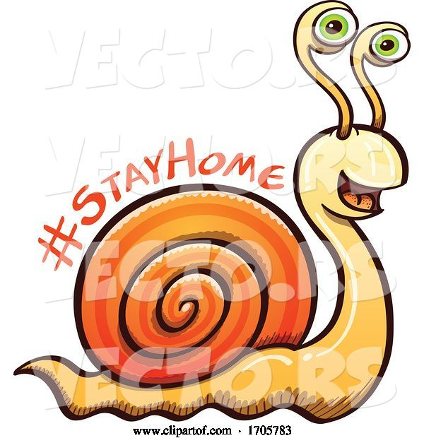 Vector of Cartoon Coronavirus Snail with a Stay Home Message