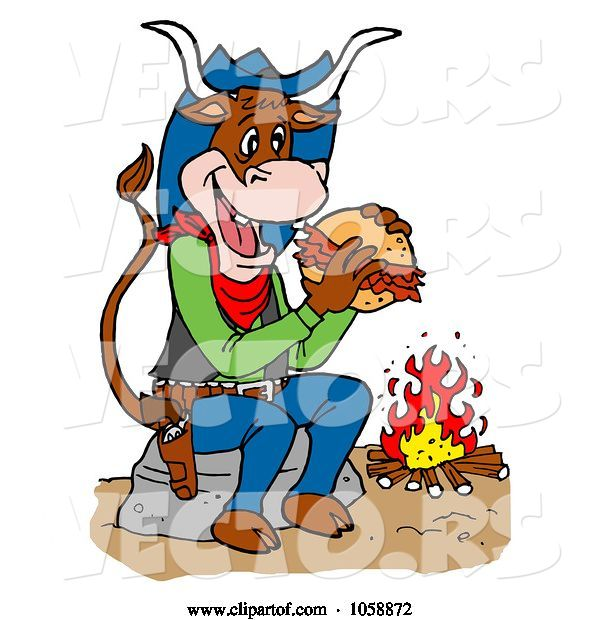 Vector of Cartoon Cow Eating a Pulled Pork Sandwich by a Fire