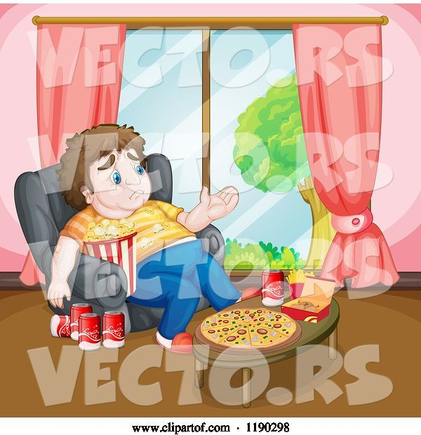 Vector of Cartoon Depressed Fat Guy Surrounded by Junk Food
