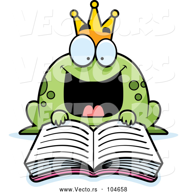 Vector of Cartoon Excited Frog Prince Reading a Fairy Tale Book