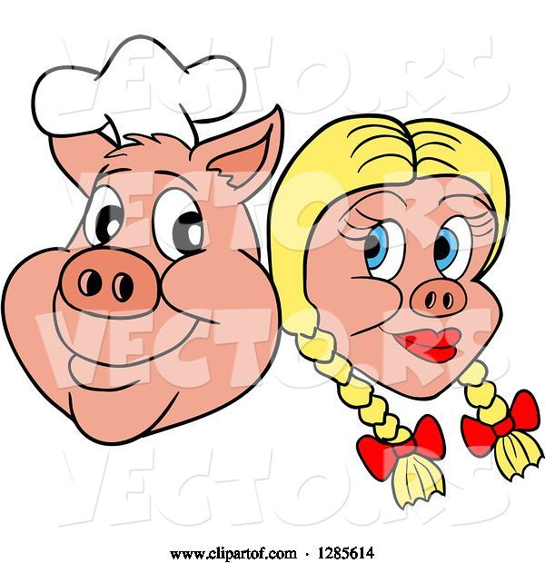 Vector of Cartoon Grinning Chef Pig Face and Blond Haired Girlfriend