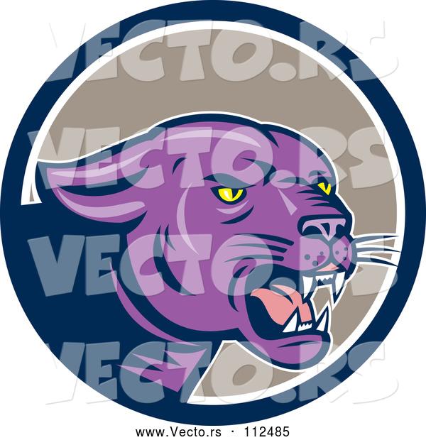 Black Jaguar Growling: Vector Of Cartoon Growling Purple Black Panther Cat In A