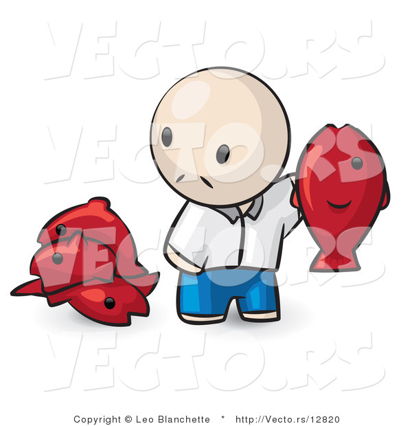 Vector of Cartoon Guy Holding up a Red Fish