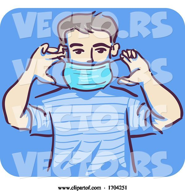 Vector of Cartoon Guy How Put Mask Illustration