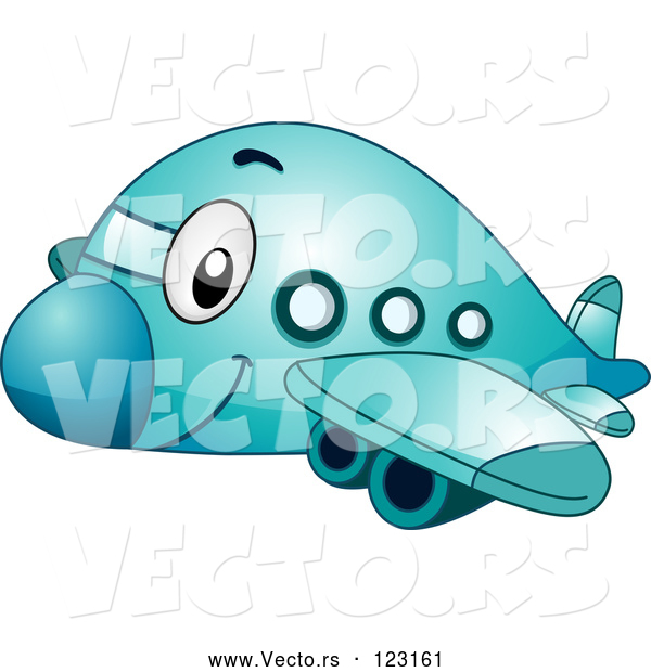 Vector of Cartoon Happy Blue Passenger Airplane