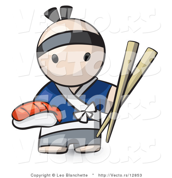 Vector of Cartoon Japanese Chef with Sushi and Chopsticks by Leo ...