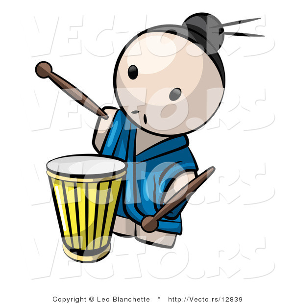 Vector Of Cartoon Japanese Guy Playing Drum