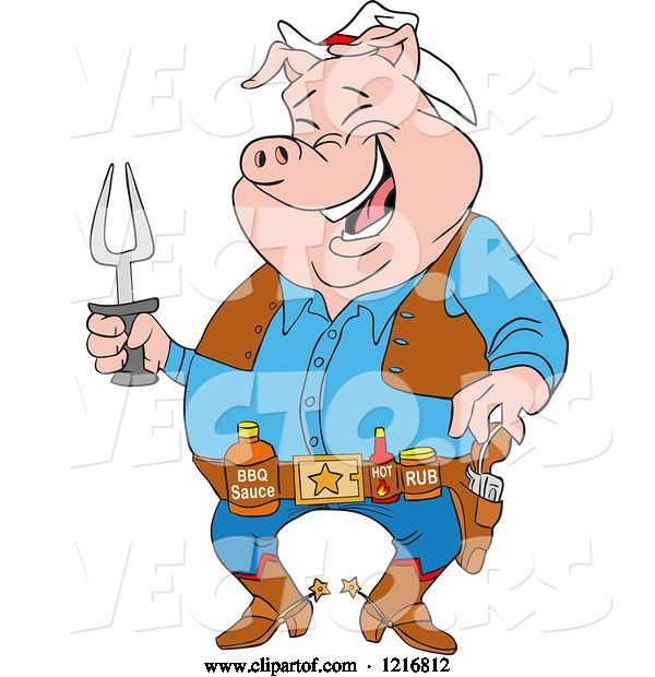 Vector of Cartoon Laughing Cowboy Pig Holding a Bbq Fork and Wearing Sauces on a Belt