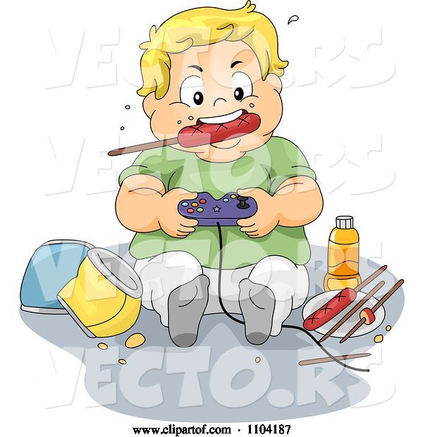 Vector of Cartoon Overweight Blond Boy Eating a Sausage and Playing Video Games
