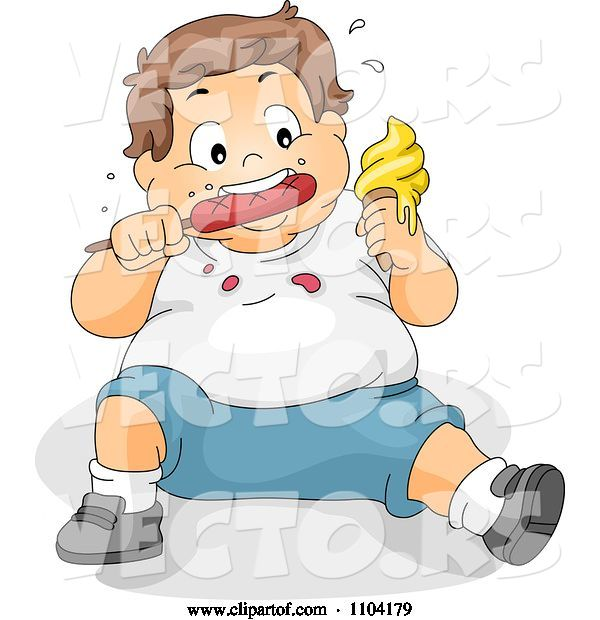 Vector of Cartoon Overweight Brunette Boy Eating Ice Cream and a Hot Dog