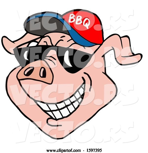Vector of Cartoon Pig Face Wearing a Bbq Hat and Shades