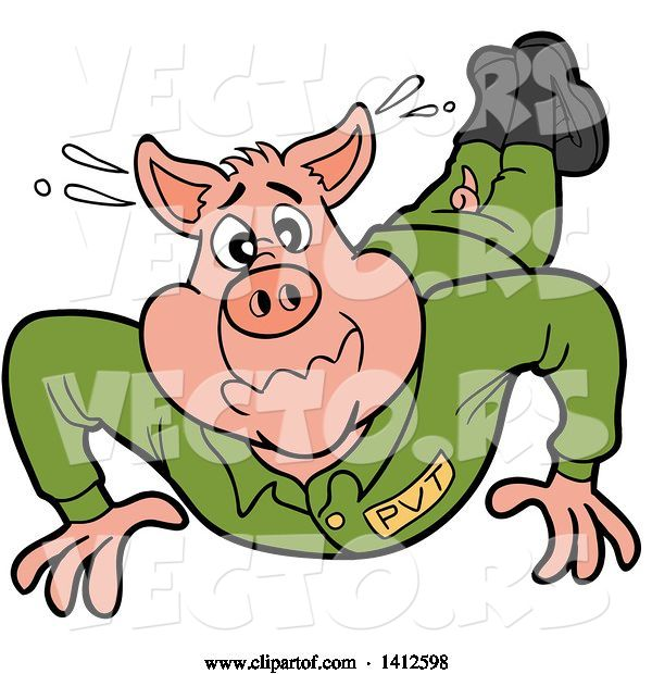Vector of Cartoon Pig Soldier Doing Pushups