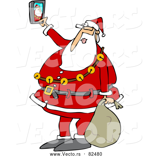 Vector of Cartoon Santa Taking Selfie Picture with Smart Phone
