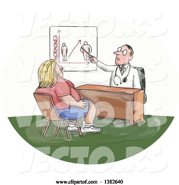 Vector of Cartoon Sketched White Male Doctor Discussing Weight with an Obese Lady