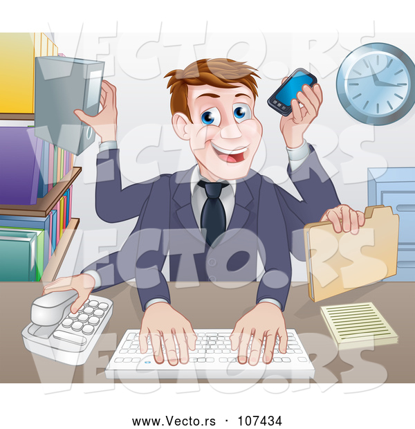 Vector of Cartoon White Businessman Multi Tasking with Many Arms at His Office Desk