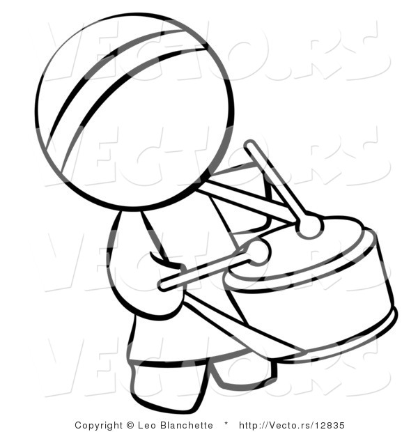 vector of chinese drummer person coloring page outlined art