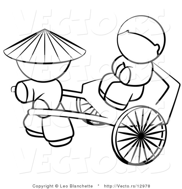 Vector of Chinese Person Pulling a Customer in a Cart ...