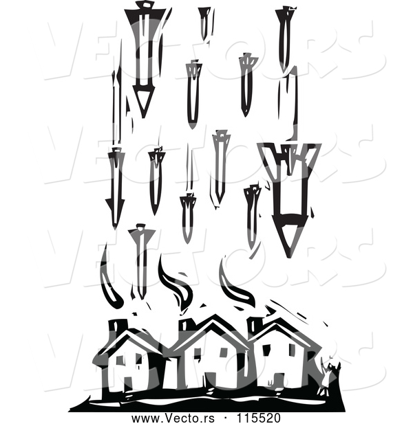 Vector of Civilian Houses Being Attacked by Missile Bombs in Black Lineart