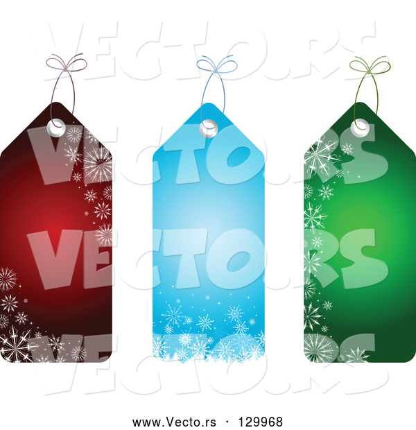 Vector of Collection of Three Red, Blue and Green Snowflake Patterned Christmas Gift Tags