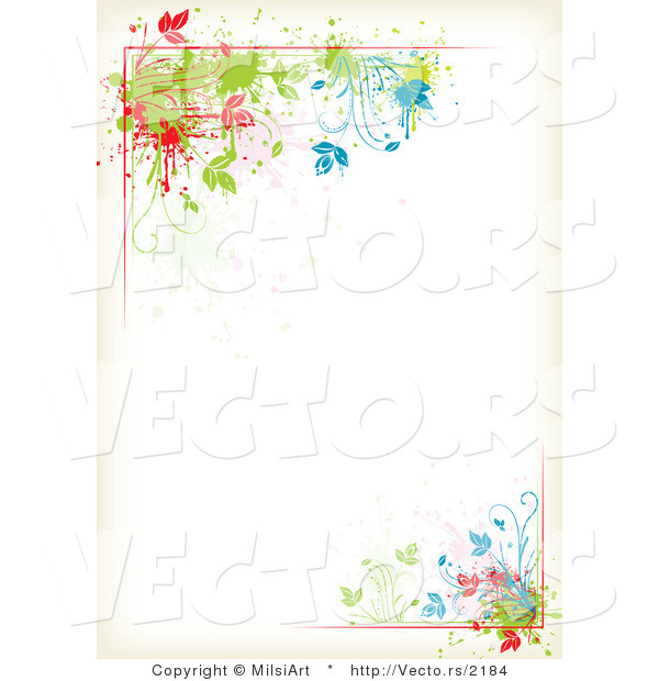 White Backgrounds With Colorful Borders Vector of Color...