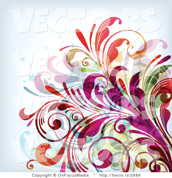 Vector of Colorful Leafy Floral Background Design