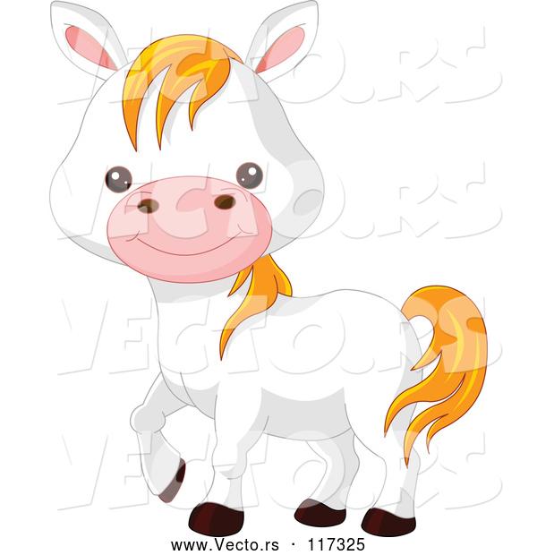Vector Of Cute Cartoon Farm Animal White Pony Horse By Pushkin