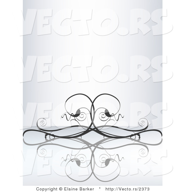 Vector of Elegant Curly Black Vines over a Reflective Surface