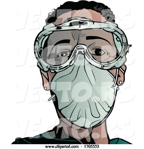 Vector of Emergency Medical Worker in a Protective Suit and Mask