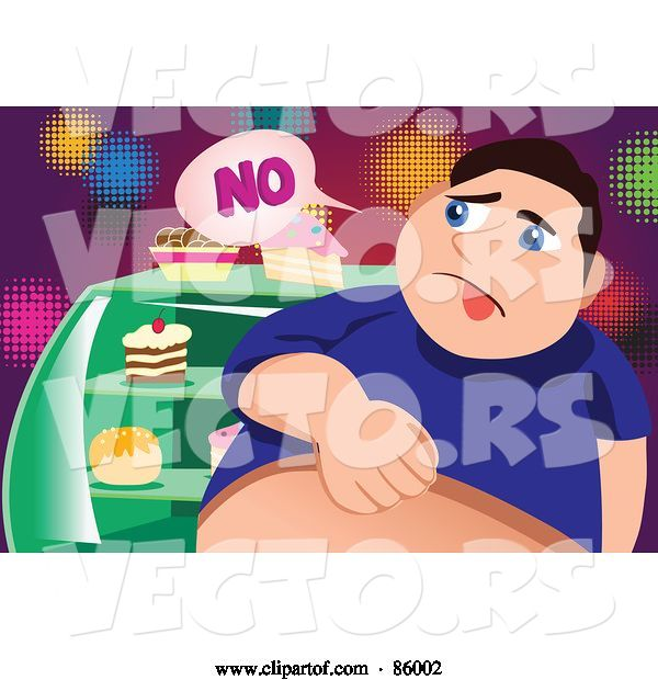 Vector of Fat Guy Denying Himself Sweets