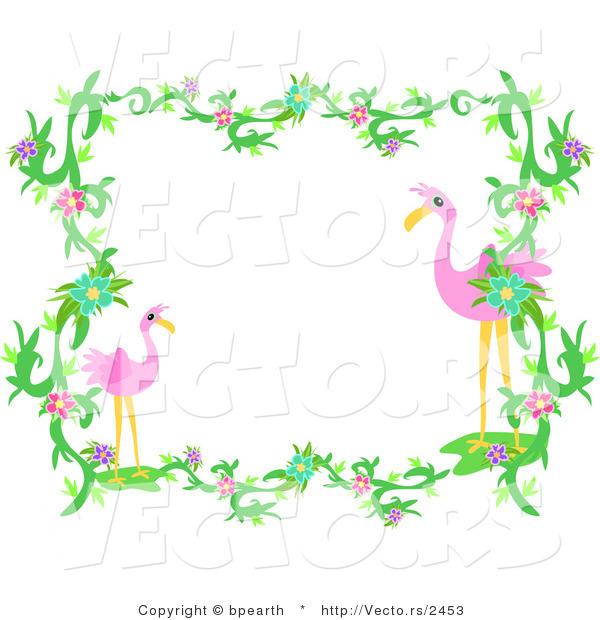 Vector of Flamingos Within Vines and Flowers - Border Design Element ...