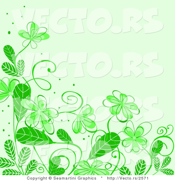 vector of floral background border design with green flowers