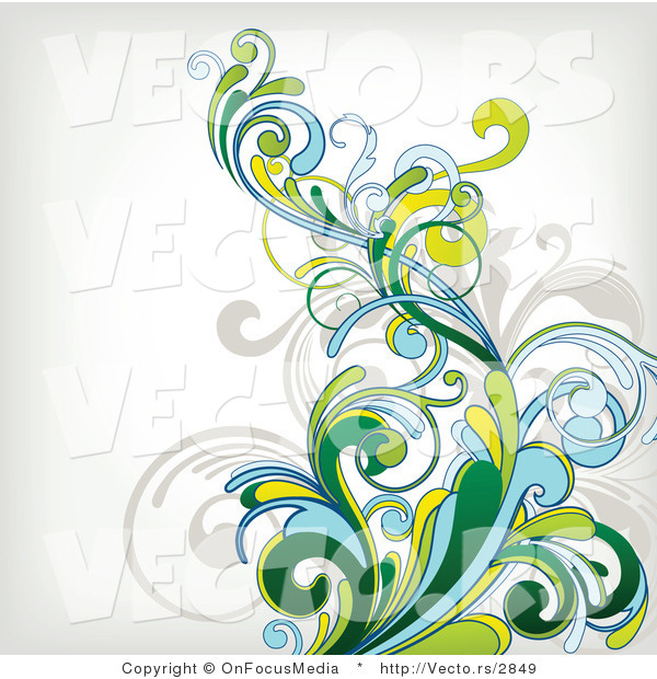 Vector of Flourish Vines Composited over off White Background Design Version 1