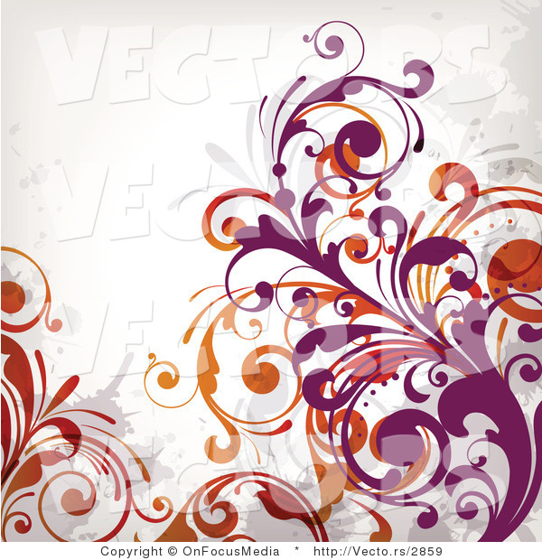 Vector of Flourish Vines on White Background Version 7