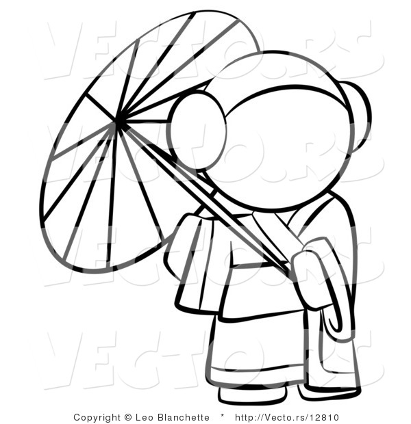 Vector of Geisha Woman Strolling with a Parasol - Coloring Page Outlined Art