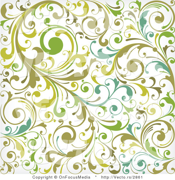 Vector Of Green And White Background Pattern With Leafy Vines