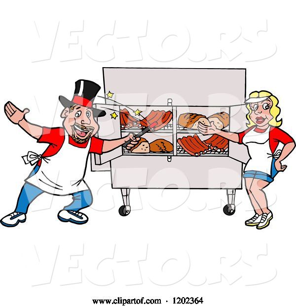 Vector of Happy Cartoon White Magician Chef Guy and Lady Presenting a Bbq Meat Display
