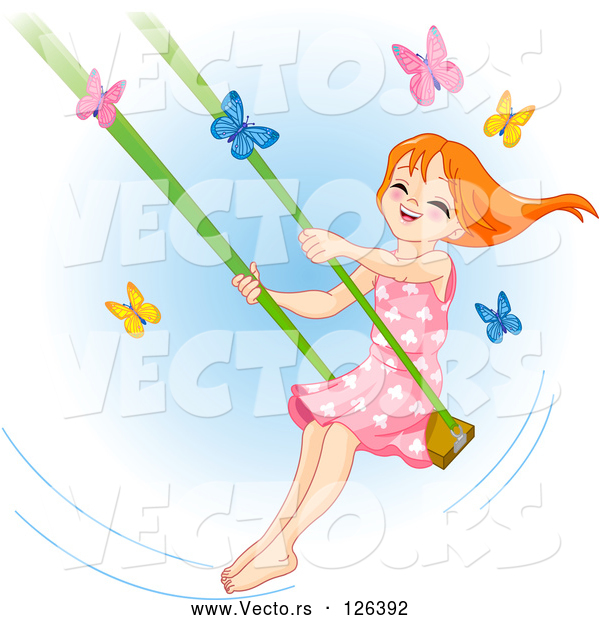 Vector of Happy Red Haired Girl Swinging past Butterflies