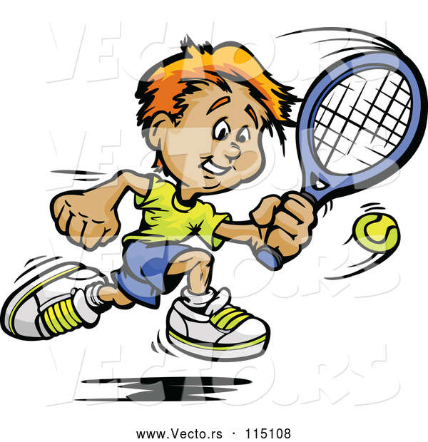 Vector of Happy Sporty White Boy Swinging at a Tennis Ball