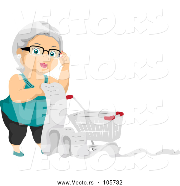 Vector of Happy White Haired Senior White Lady with a Shopping Cart and Long List