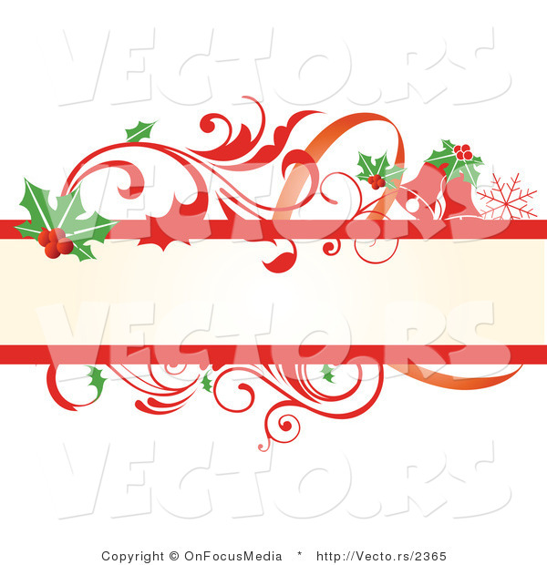Christmas Vines.Vector Of Holly Leaves And Red Scrolling Vines Christmas