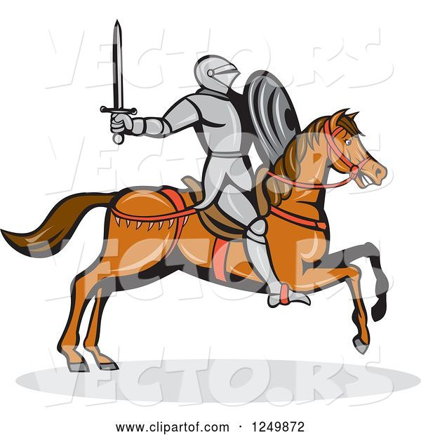 Vector of Horseback Armoured Knight Wielding a Sword