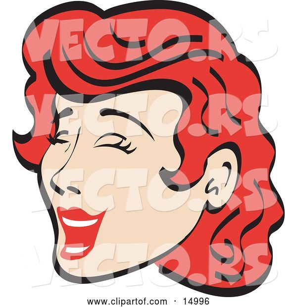 Vector of Jolly Red Haired Lady Closing Her Eyes and Laughing Retro