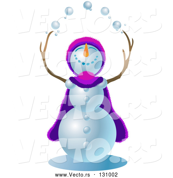 Vector of Jolly Snowman Wearing a Purple and Pink Cape and Hat, Looking Upwards and Juggling Snowballs