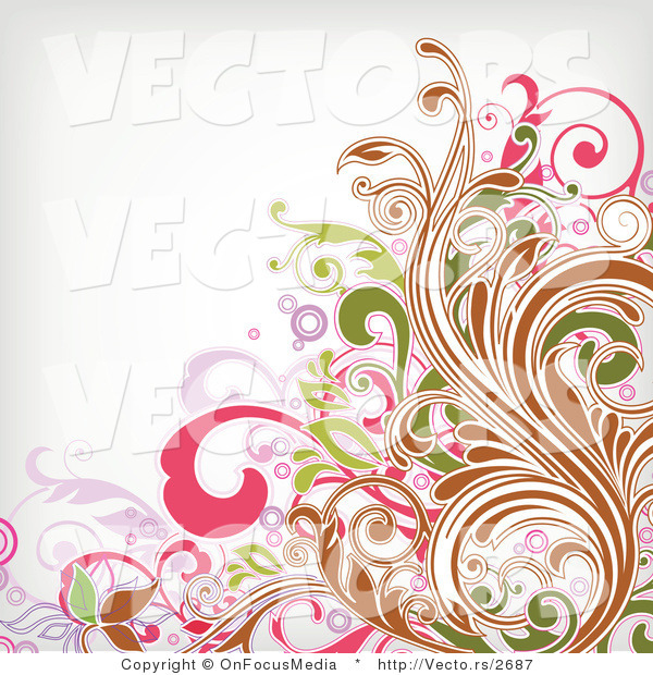 Vector of Leafy Floral Background Vines Pattern
