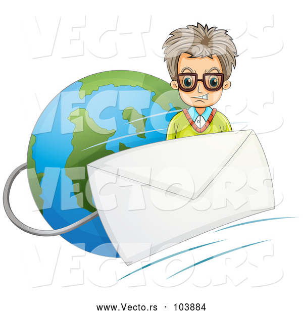 Vector of Mad Guy with an Email Envelope over Earth